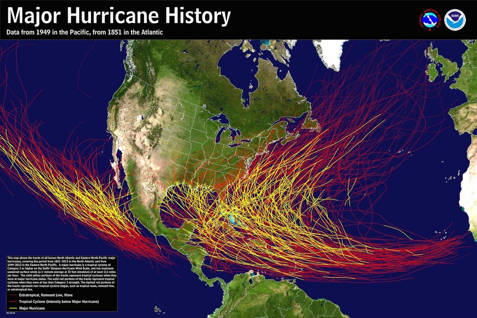 Major Hurricane History for Atlantic and Pacific