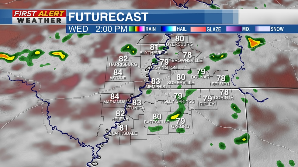 Futurecast scattered showers midweek for the Mid-South