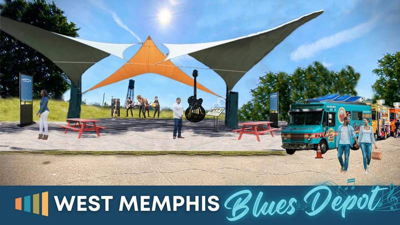 Rendering of West Memphis Music and Blues Depot