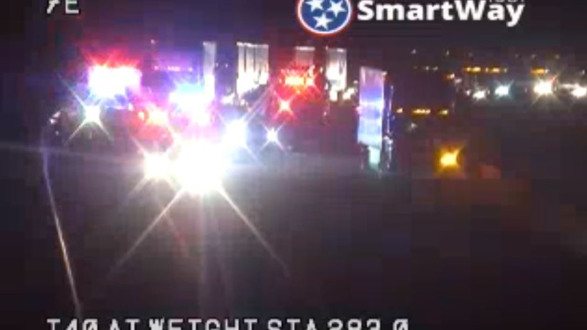 Semi-truck fire on I-40