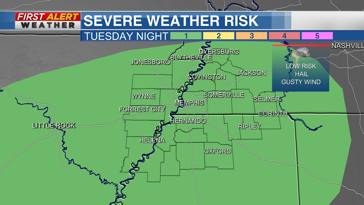 Marginal risk for severe weather for the entire Mid-South