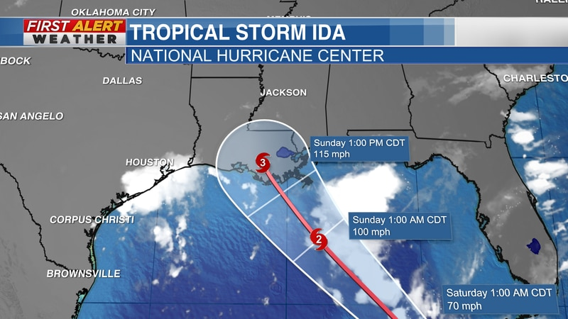 """Official track of """"Ida"""" from the National Hurricane Center as of 4:45 AM CT Friday, August 27,..."""