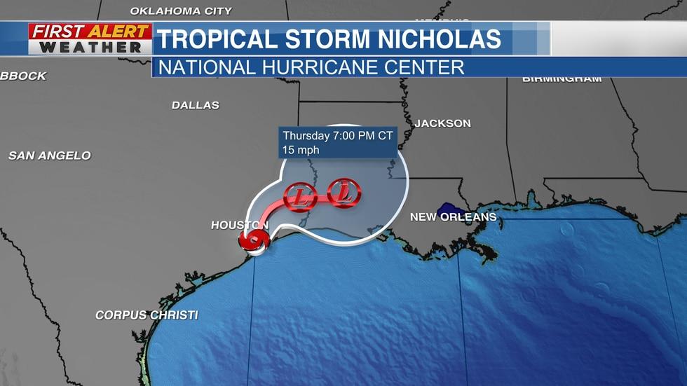 TS Nicholas track from NHC