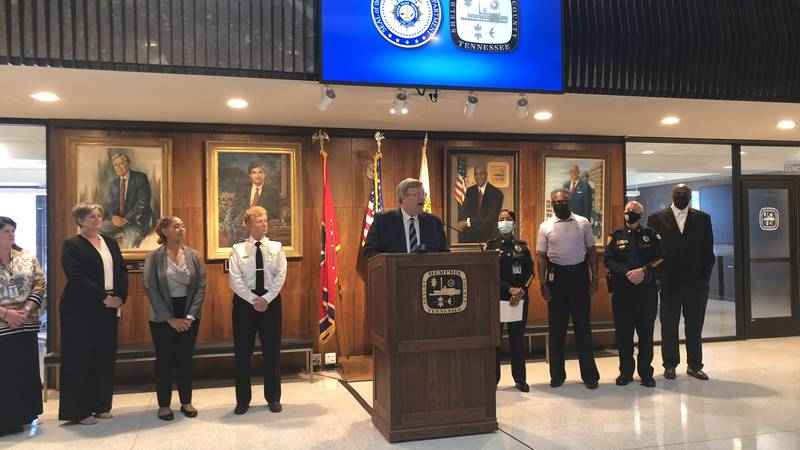 Memphis Mayor Jim Strickland and other city leaders at press conference.
