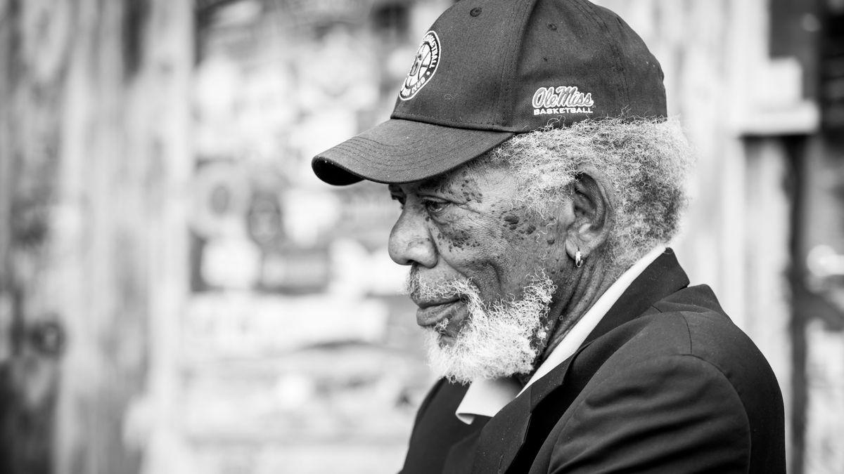 Oscar-winning actor Morgan Freeman wears an Ole Miss Basketball hat during an interview with...