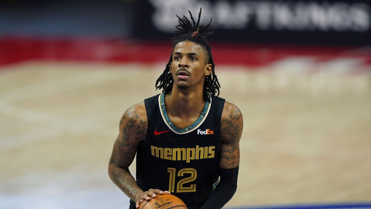 Memphis Grizzlies guard Ja Morant plays during the second half of an NBA basketball game,...