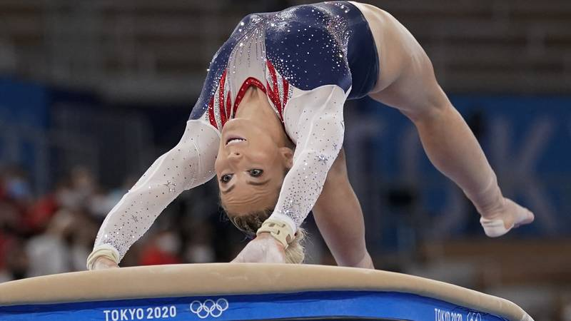 MyKayla Skinner of the United States, performs on the vault during the artistic gymnastics...