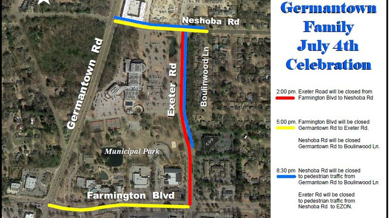 Fourth of July Road Closure map