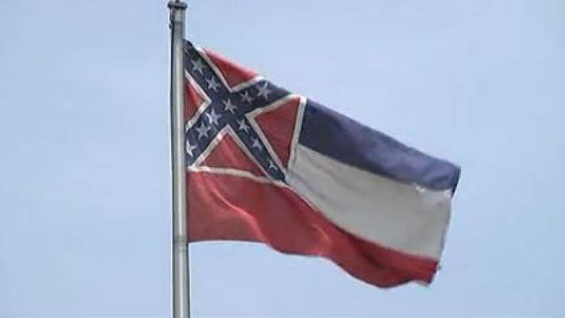 The Confederate battle emblem in the corner of the Mississippi state flag continues to fan the...