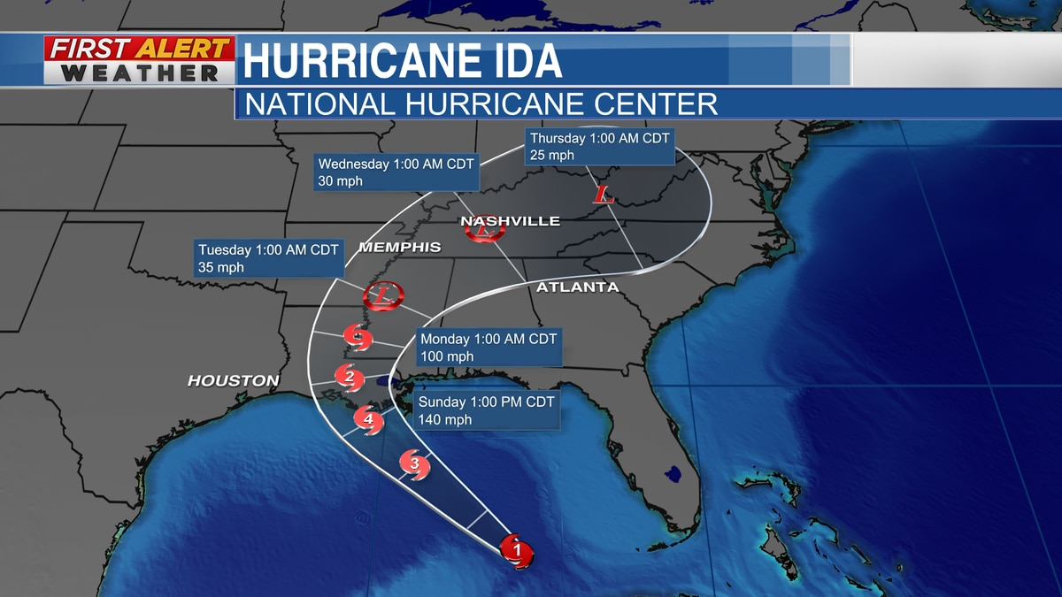 """Tropical Track for """"Ida"""" from the National Hurricane Center"""