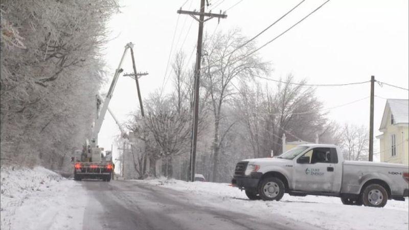 Crews worked to fix a broken pole.