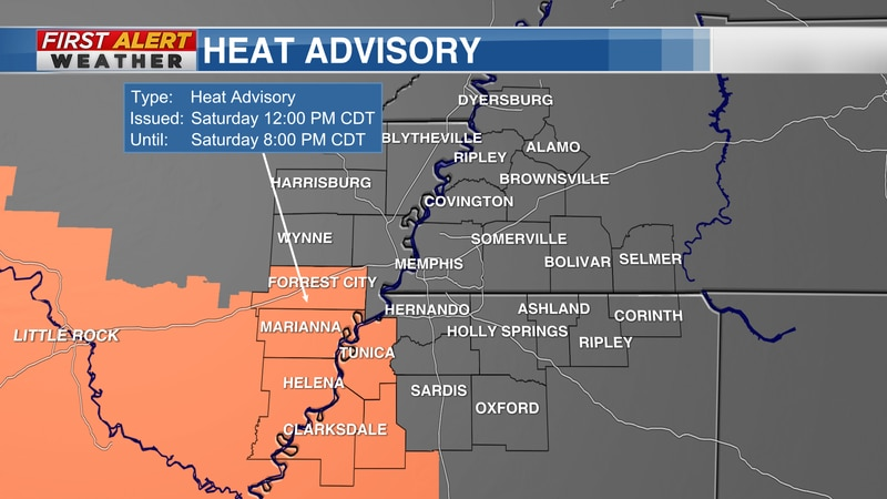 Heat Advisory as of 4 AM CT Saturday, August 21, 2021