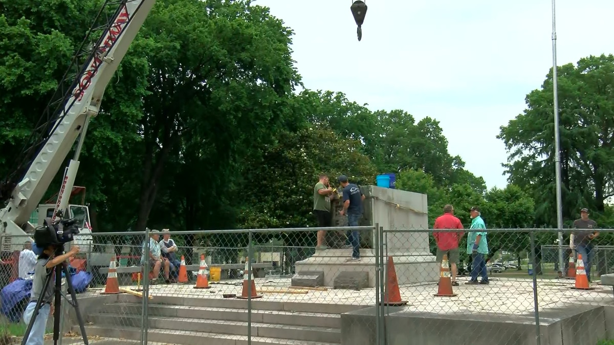 Work is underway removing a pedestal from atop the burial site of Nathan Bedford Forrest and...