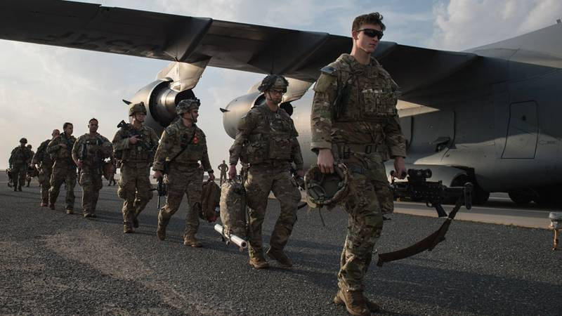 U.S. Army Paratroopers from the 82nd Airborne Division arrive at Ali Al Salem Air Base, Kuwait,...