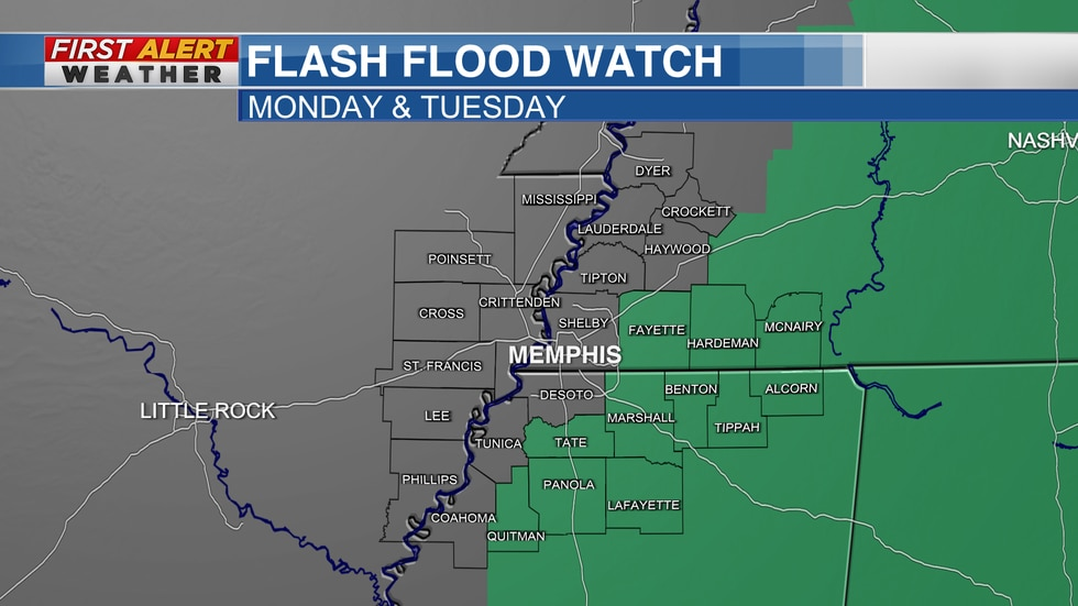 Flash Flood Watch for parts of the Mid-South