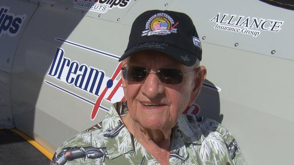 100-year-old World War II pilot Thomas Adams Jr. flew with Dream Flights, a nonprofit that...