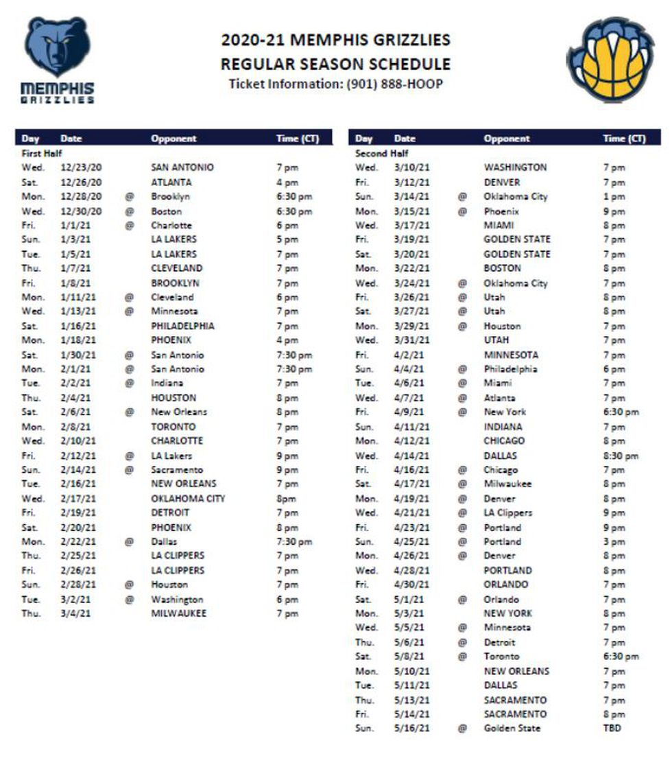 Grizz will play 40 games in 68 days