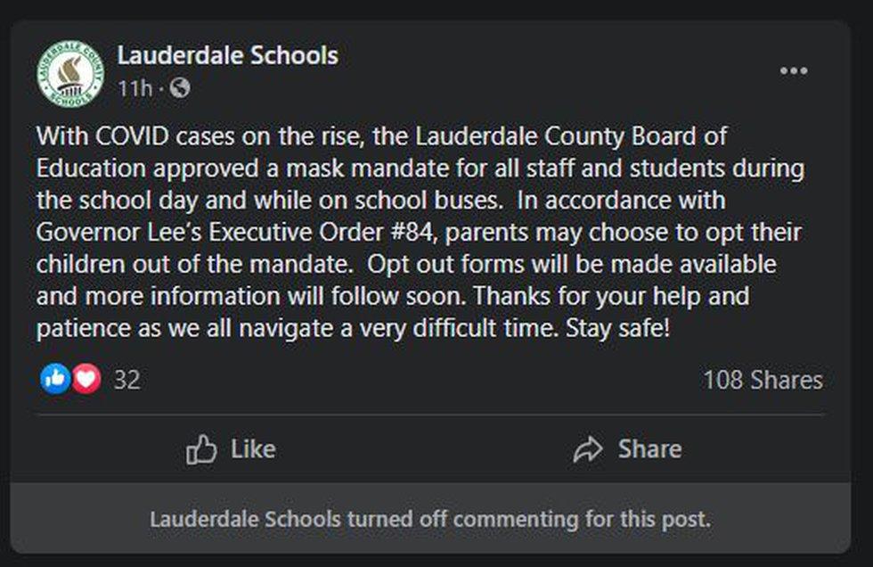 Lauderdale County Schools mask mandate
