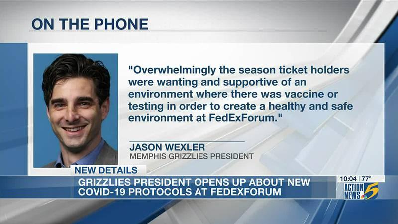 Grizzlies' President explains new COVID-19 protocol