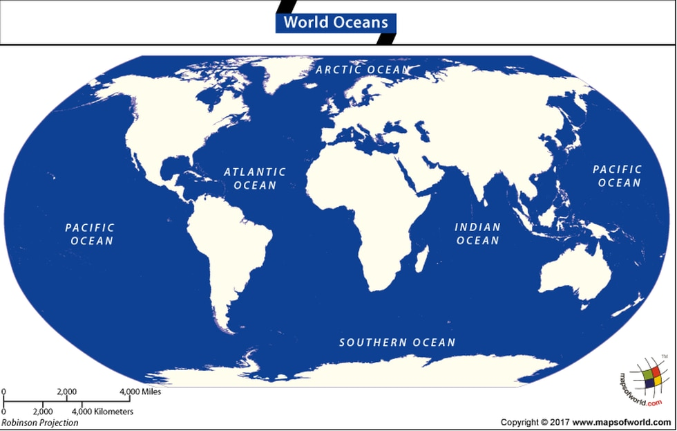 The five oceans are connected and are actually one huge body of water, called the global ocean...