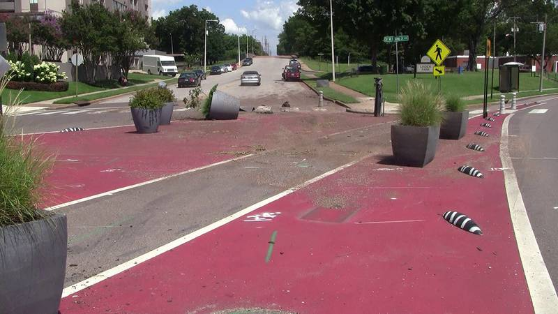 Planters were knocked over in a Sunday morning crash.