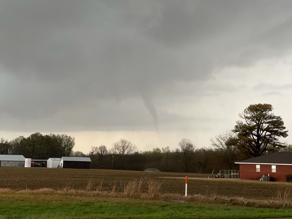 Funnel clouds spotted forming near Osceola, Arkansas.