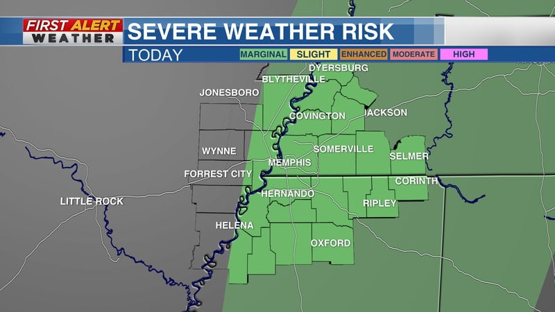 Marginal Risk for severe weather in the Mid-South