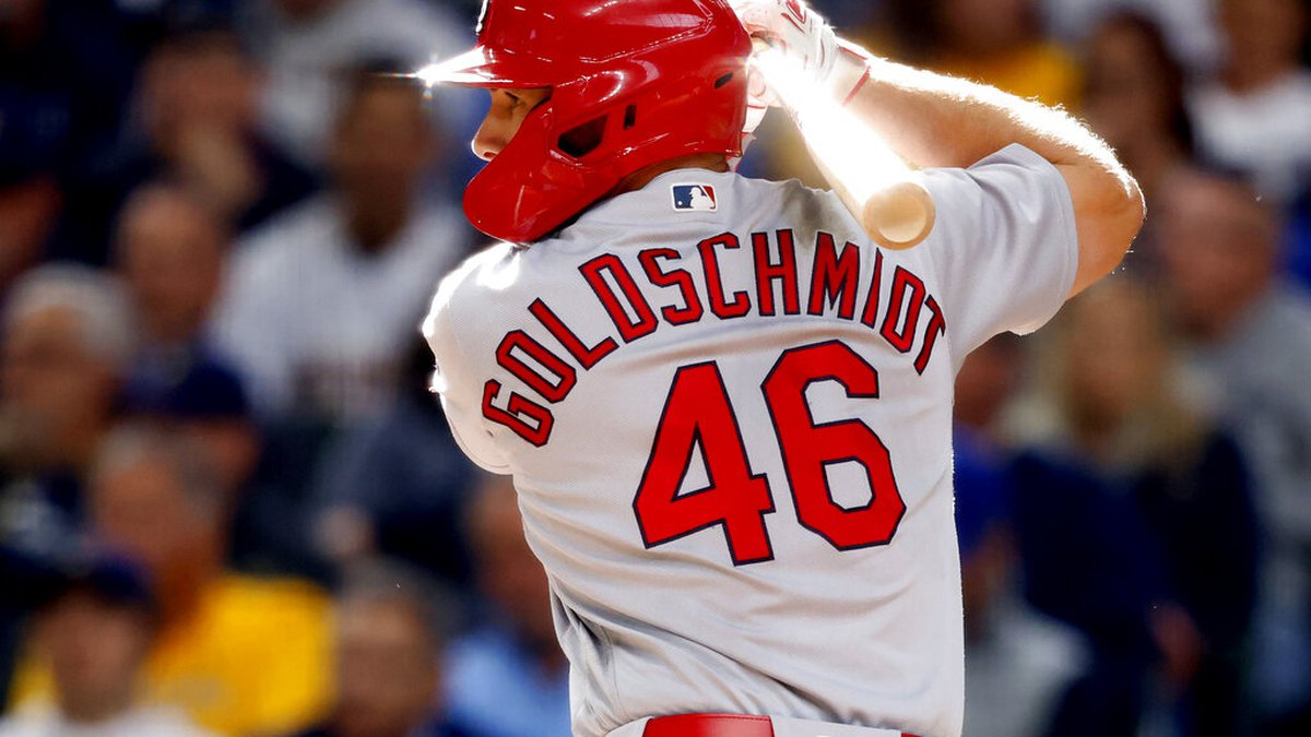 St. Louis Cardinals' Paul Goldschmidt bats during the seventh inning of a baseball game against...