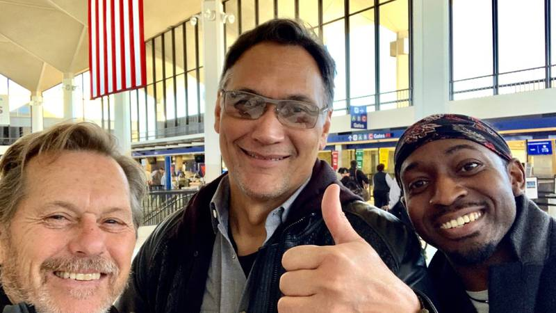 Jimmy Smits poses for a final picture with Thomas Woodley and Princeton James at the airport...