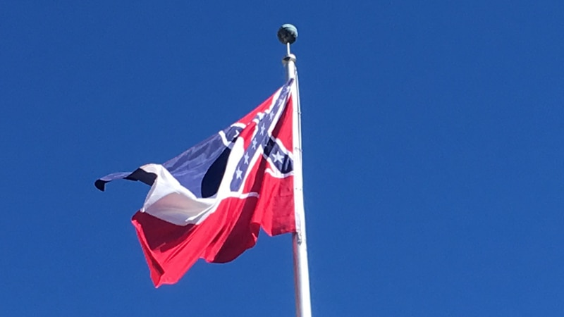 Mississippi is the last state in the nation with a confederate battle emblem on its...