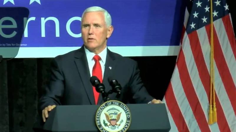 Vice President Mike Pence spoke Monday at a campaign rally in Biloxi for gubernatorial...