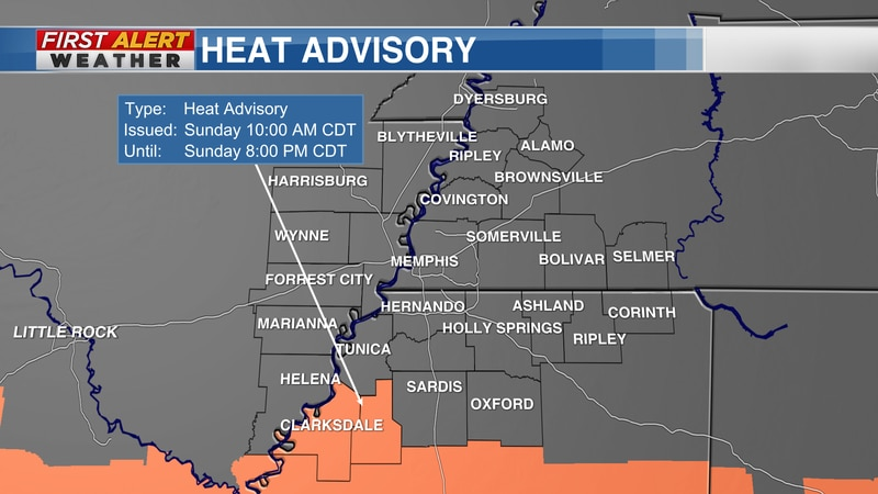 Portions of north Mississippi, under another heat advisory Sunday as heat indices climb near or...