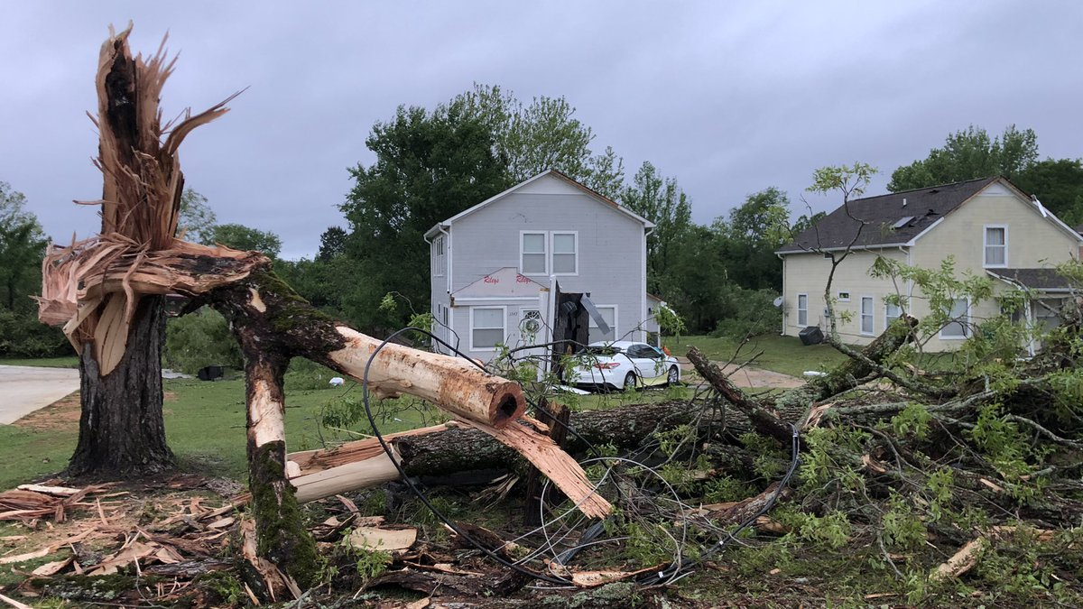 A tornado damaged homes in Tupelo, Mississippi May 2, 2021.
