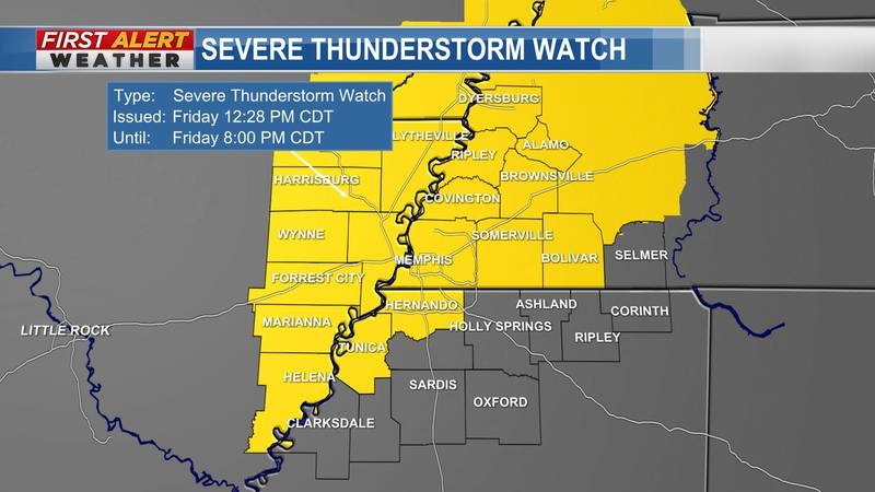 Severe Thunderstorm Watch in effect until 8 PM Friday