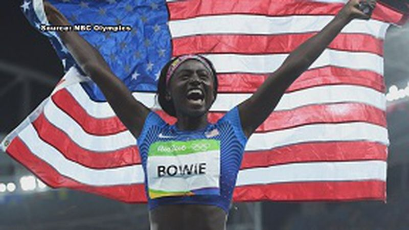 Tori Bowie won gold, silver and bronze in 2016 Olympic Games. (SOURCE: NBC)