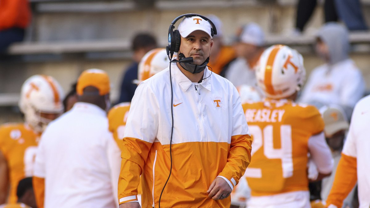 FILE - Tennessee coach Jeremy Pruitt watches during the first half of the team's NCAA college...