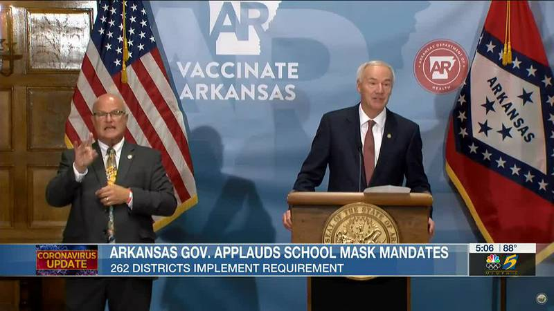 AR Gov. applauds school districts for requiring masks