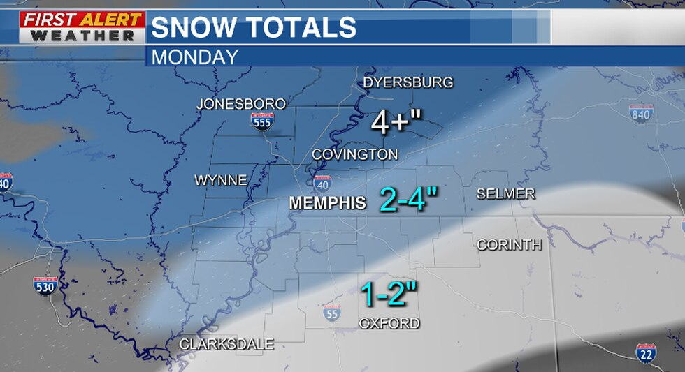 Snowfall totals could exceed 4 inches on Monday