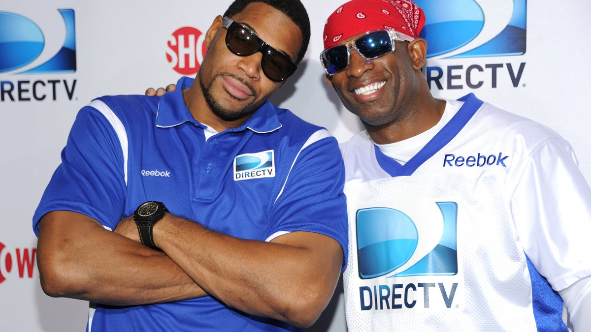 From left, Michael Strahan and Deion Sanders arrive at DIRECTV's Seventh Annual Celebrity Beach...