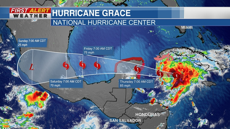 """Official track for """"Grace"""" from the NHC as of 11 AM CT Wednesday"""