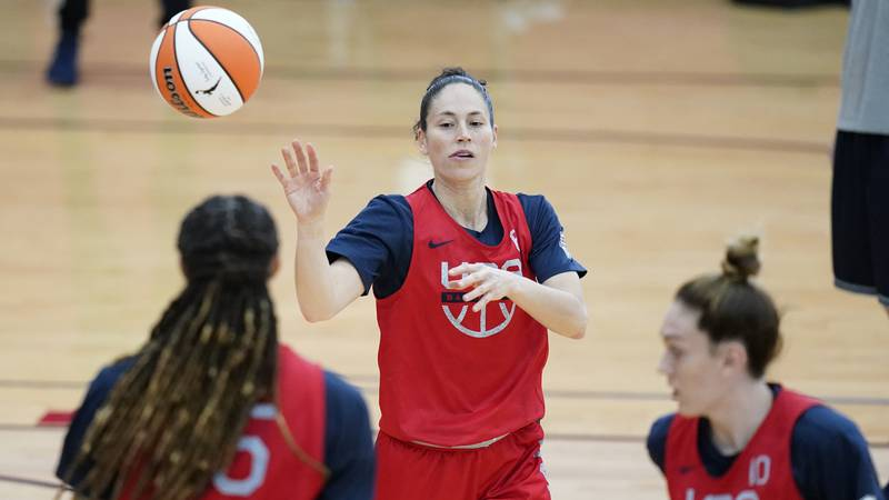 Sue Bird passes during practice for the United States women's basketball team in preparation...
