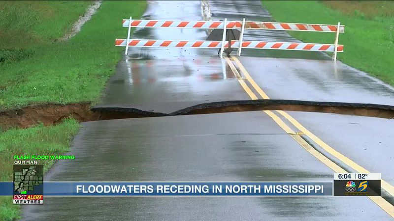 Flood waters receding across North Mississippi