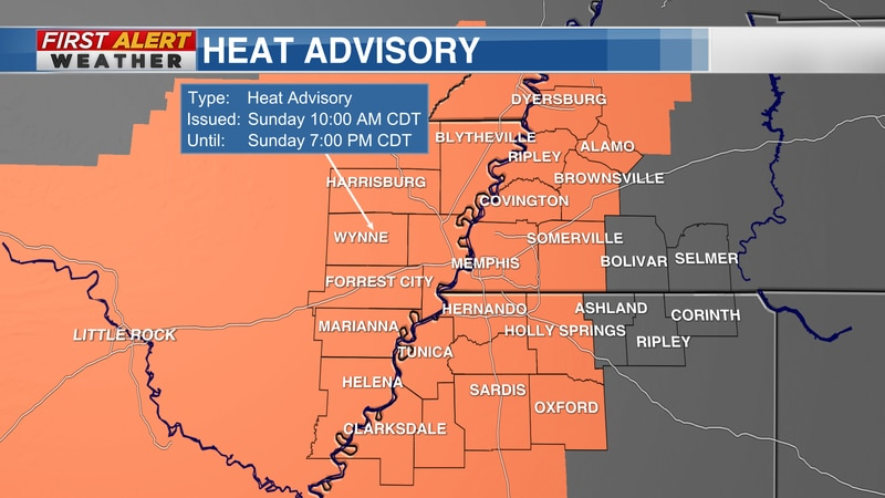 The National Weather Service has issued a HEAT ADVISORY across most of the Mid-South for...