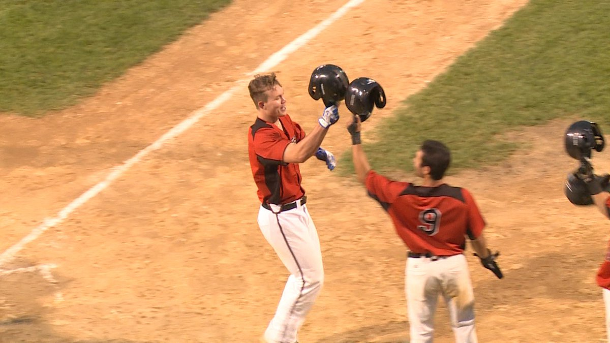 Alec Trela of the Eau Claire Express celebrates after hitting a home run Friday night.
