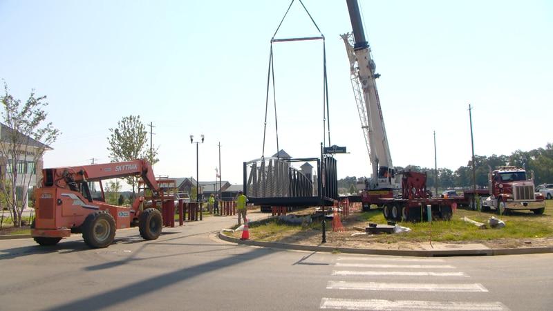 New pedestrian bridge being erected over Getwell Road.