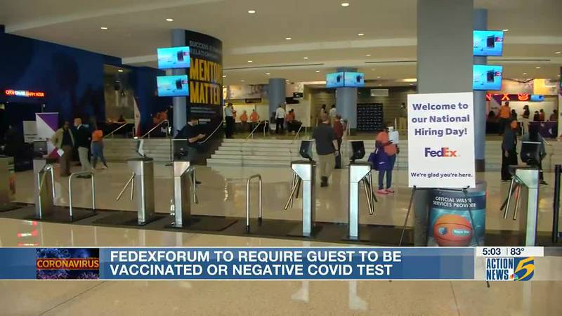 FedExForum requiring proof of vaccine or negative test for all games and events