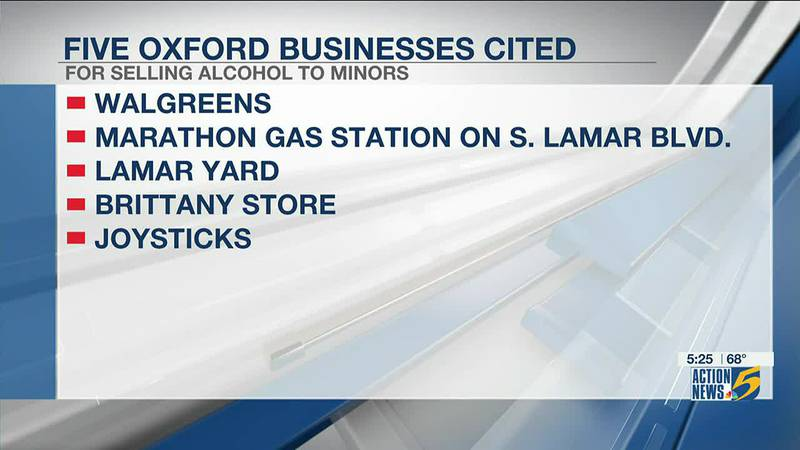 5 Oxford businesses cited for selling alcohol to minors