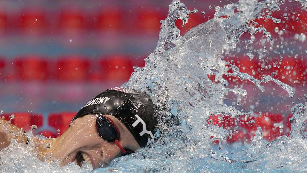 Katie Ledecky, of United States, swims in a women's 200-meter freestyle semifinal at the 2020...