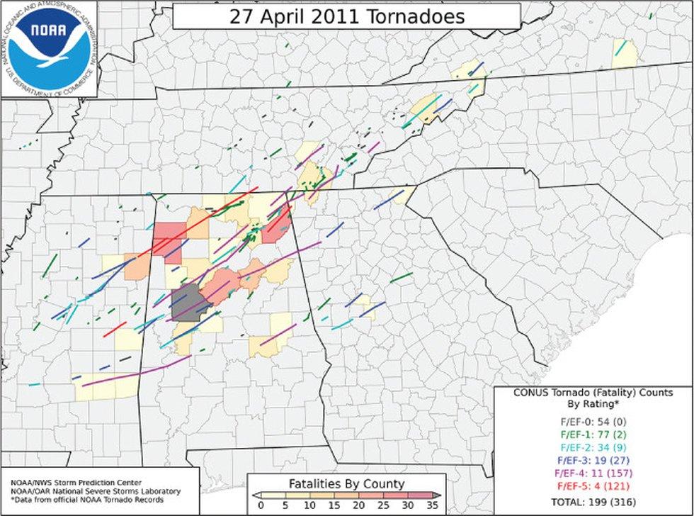 April 27th Tornado Tracks