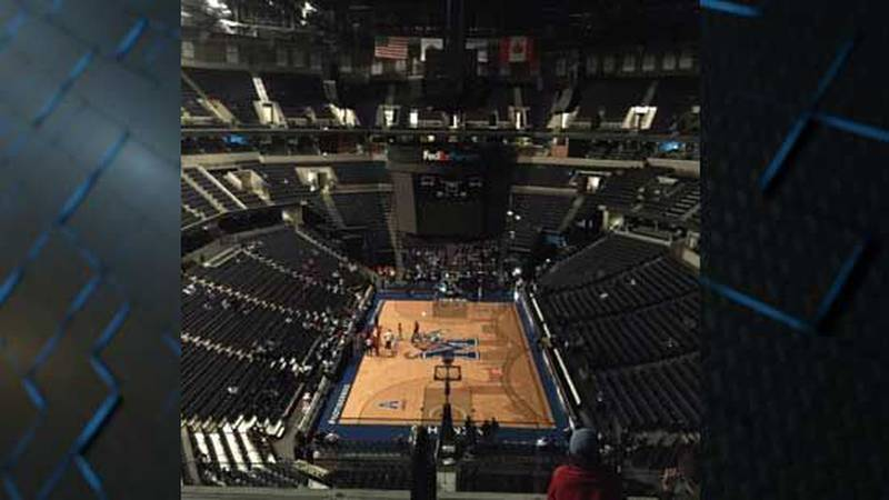 FedEx Forum is using only emergency lights since downtown has gone dark (SOURCE: viewer...